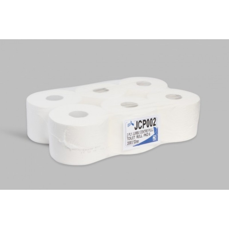TOILET ROLL JUMBO CENTRE PULL 2PLY 200M JCP002